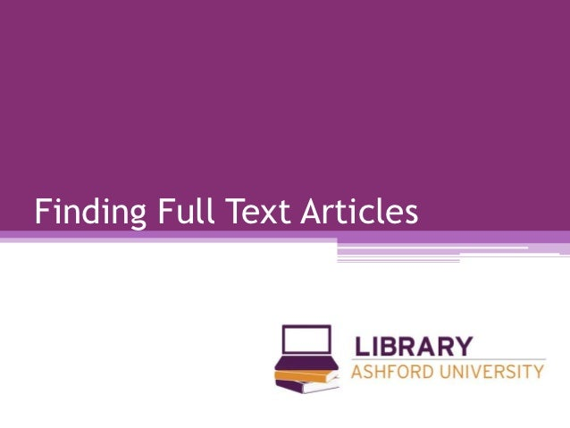 Finding Full Text Articles