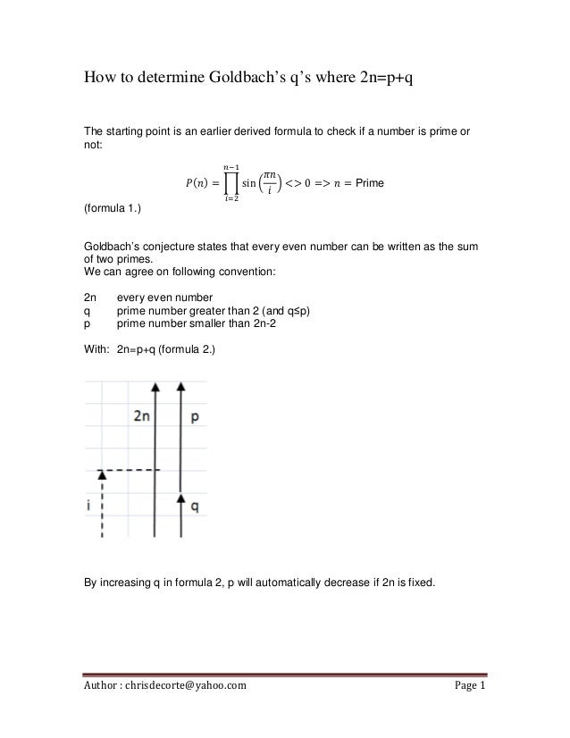 How to determine Goldbach's q's where 2n=p+q The starting point is an earlier derived formula to check if a number is prim...