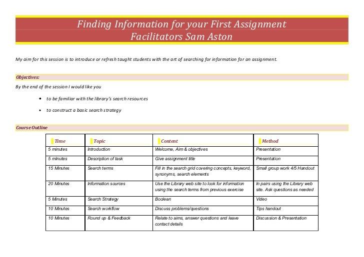 Finding Information for your First Assignment                                          Facilitators Sam AstonMy aim for th...