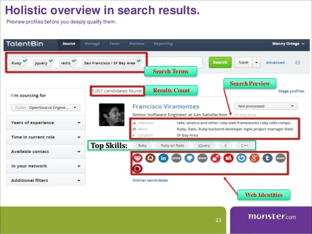recruiter monster india resume database search result