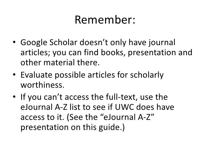 how to use google scholar to find articles
