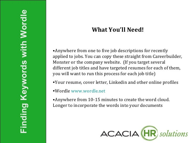 finding keywords for job search pres 7 2011