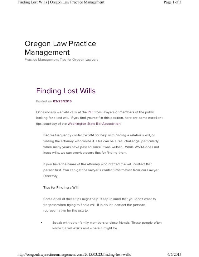 finding lost wills
