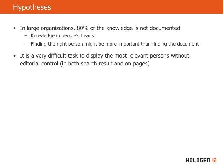 Finding People In Large Organisations Joergen Dalen Slide 3