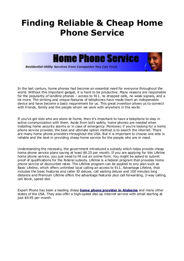 Cheap Reliable Home Phone Service