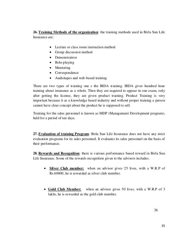 Findings And Analysis Of Birla Sun Life
