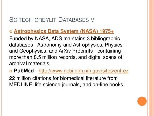 DATABASES EXTRA-Dozens of open access technical scientific databases with primarily grey information are also available  ...
