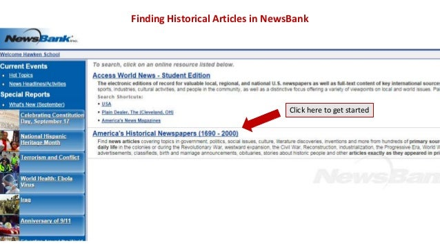 Finding Historical Articles in NewsBank  Click here to get started