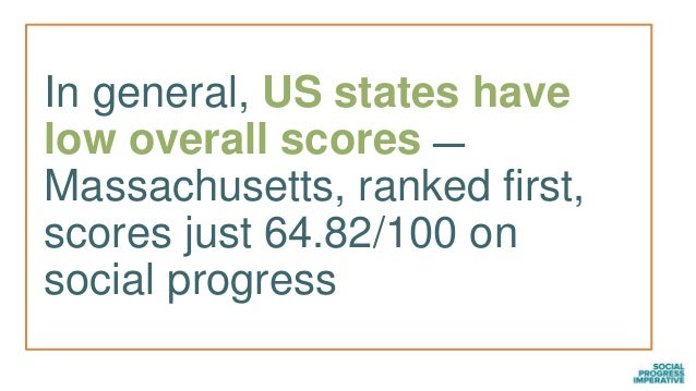 In general, US states have low overall scores — Massachusetts, ranked first, scores just 64.82/100 on social progress