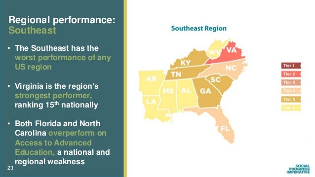 23 Regional performance: Southeast • The Southeast has the worst performance of any US region • Virginia is the region's s...