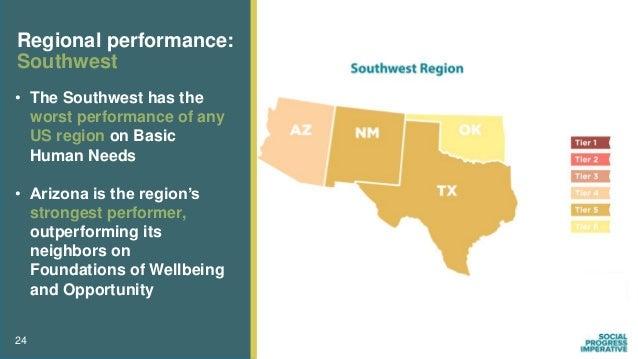 24 Regional performance: Southwest • The Southwest has the worst performance of any US region on Basic Human Needs • Arizo...