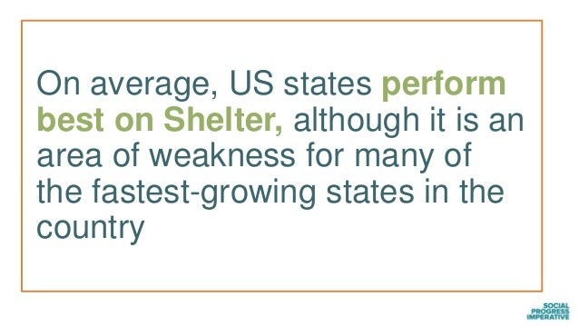 On average, US states perform best on Shelter, although it is an area of weakness for many of the fastest-growing states i...