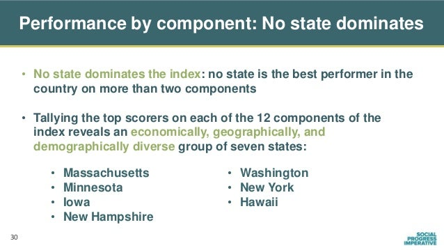 • No state dominates the index: no state is the best performer in the country on more than two components • Tallying the t...