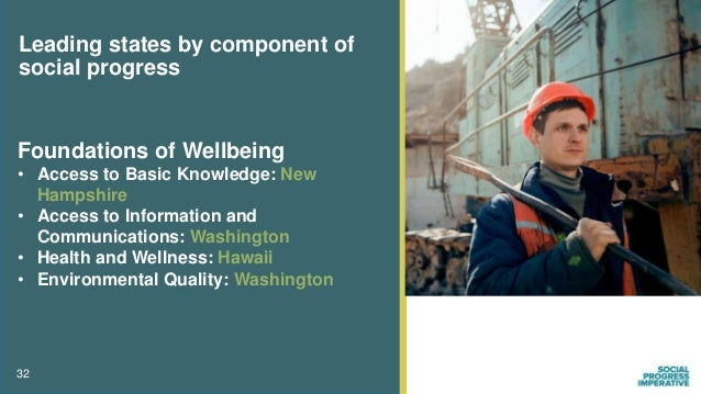 32 Leading states by component of social progress Foundations of Wellbeing • Access to Basic Knowledge: New Hampshire • Ac...