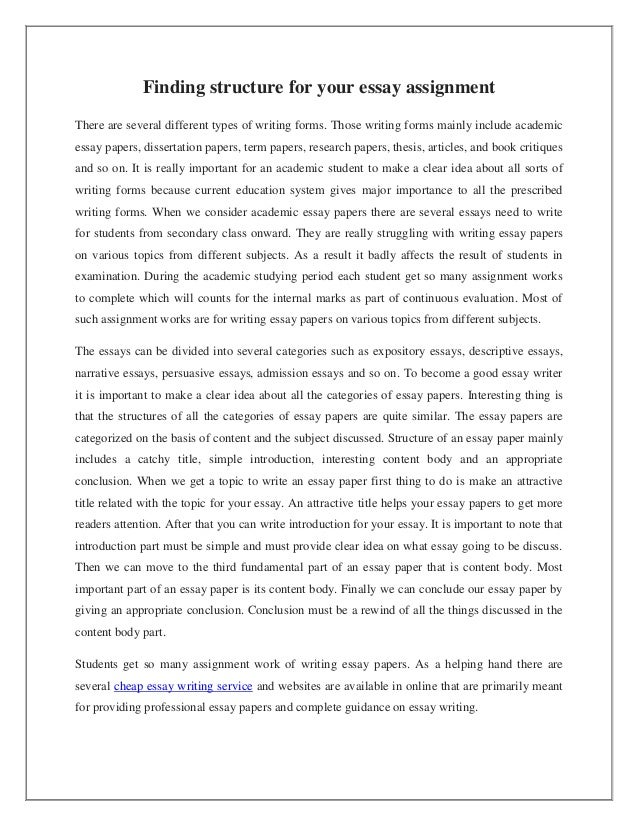 Finding Structure For Your Essay Assignment Finding Structure For Your Essay Assignment There Are Several Different  Types Of Writing Forms Those
