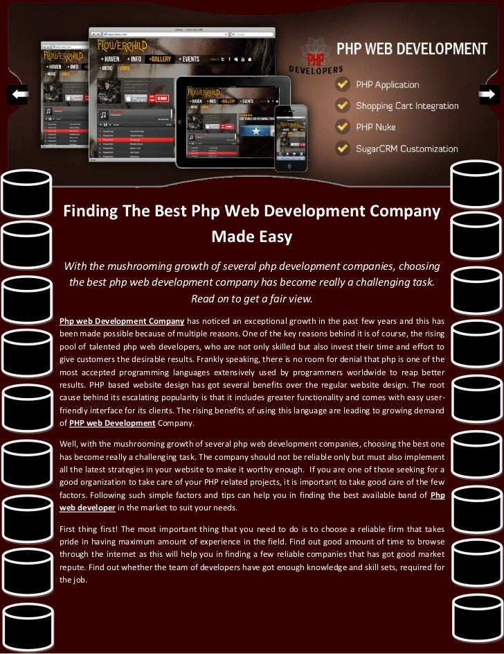 Finding The Best Php Web Development Company                    Made Easy With the mushrooming growth of several php devel...
