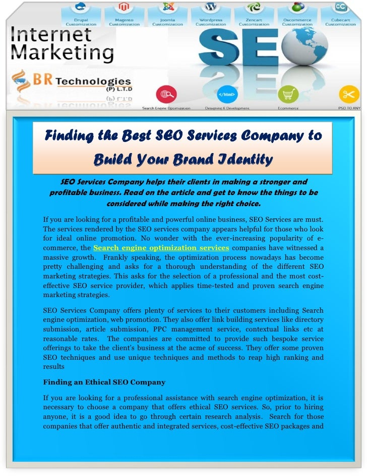 Finding the Best SEO Services Company to                Build Your Brand Identity    SEO Services Company helps their clie...
