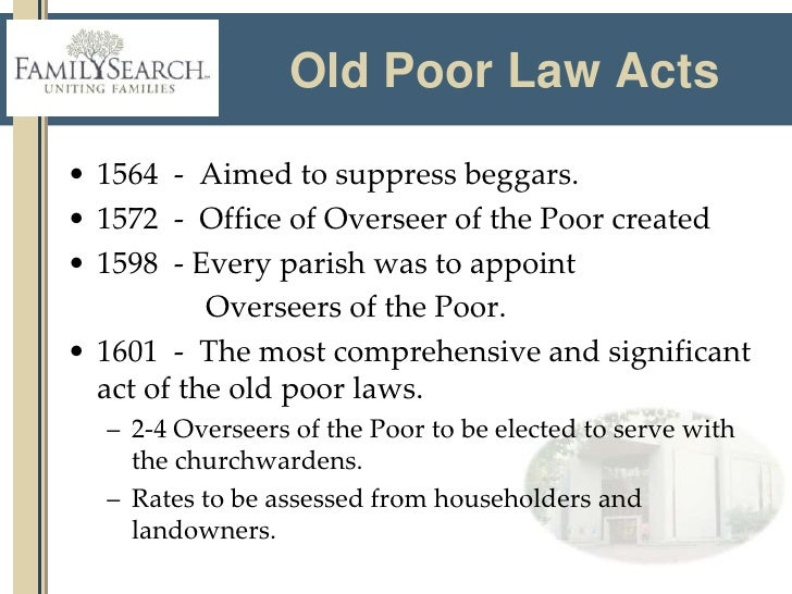poor law 1601 facts