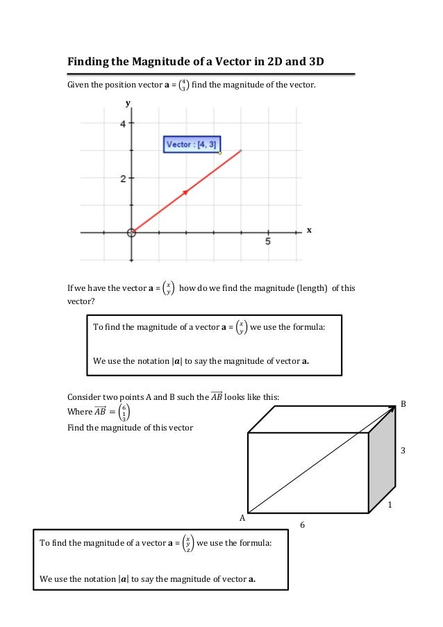 Finding the magnitude of a vector in 2 d and 3d