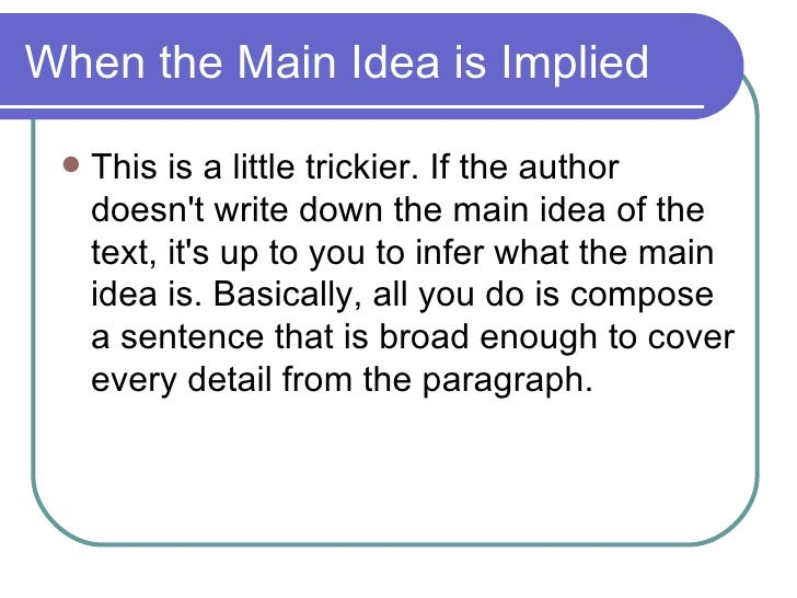 Finding The Main Idea – Implied Main Idea Worksheet