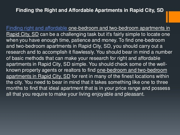 Finding the Right and Affordable Apartments in Rapid City, SDFinding right and affordable one-bedroom and two-bedroom apar...
