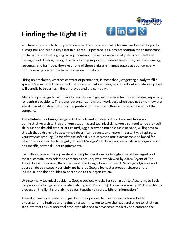 Finding The Right Fit For Your Job Requirement