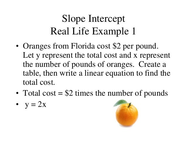 slope intercept form real life examples  Finding the slope of a line edmodo