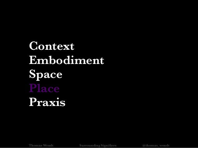Thomas Wendt Surrounding Signifiers @thomas_wendt Context Embodiment Space Place Praxis