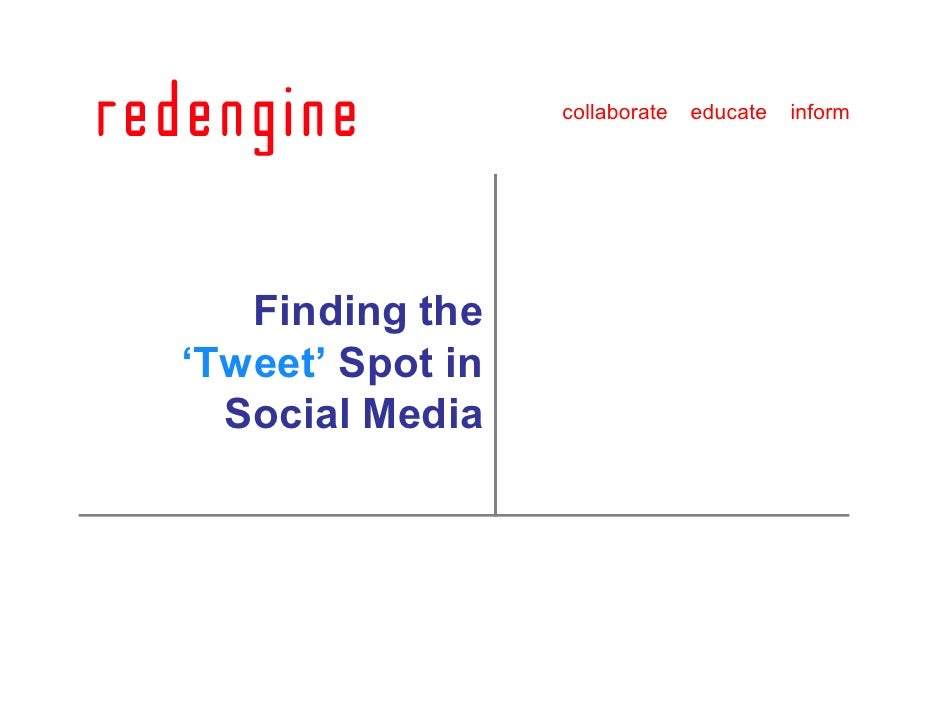 collaborate   educate   inform        Finding the 'Tweet' Spot in   Social Media