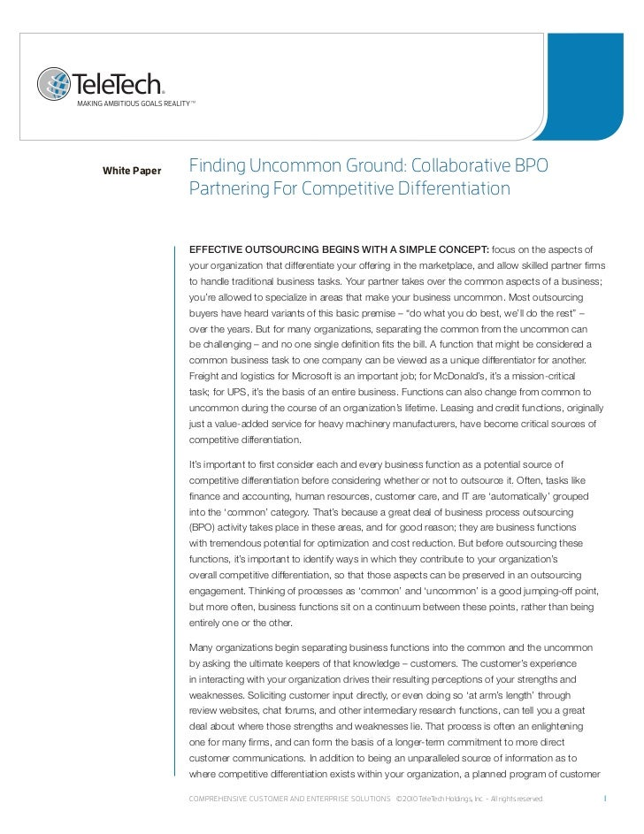 White Paper   Finding uncommon Ground: Collaborative Bpo              partnering For Competitive differentiation          ...