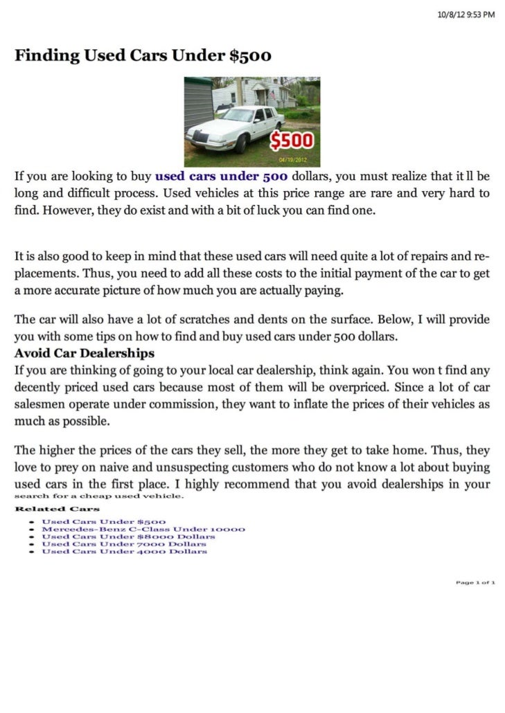 Finding Used Cars Under 500 Dollars
