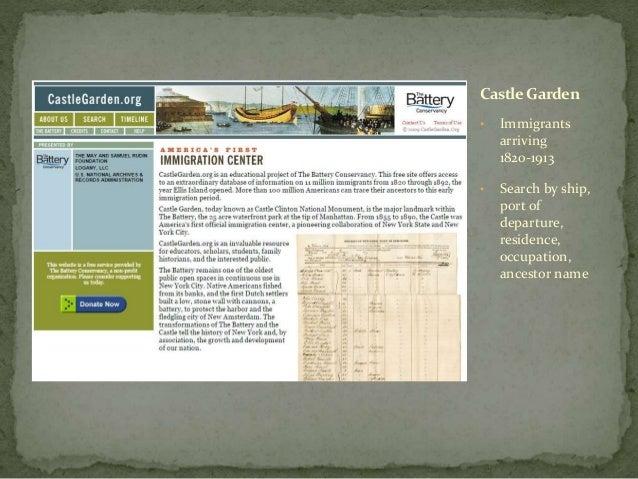 Finding your ancestors online for Castle garden immigration records