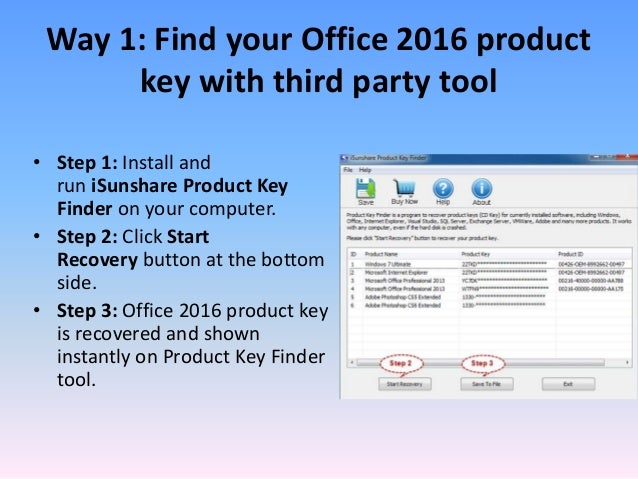 finding office 2016 product key in registry