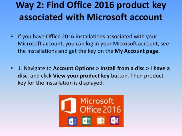 microsoft account office product key