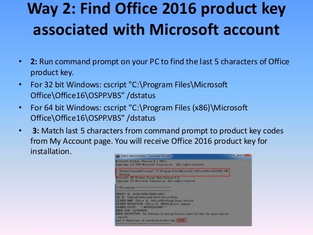 find microsoft office product key using command prompt