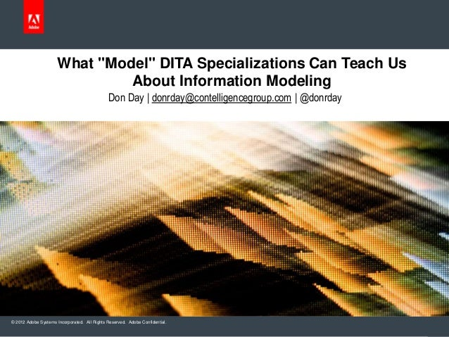 "© 2012 Adobe Systems Incorporated. All Rights Reserved. Adobe Confidential. What ""Model"" DITA Specializations Can Teach Us..."