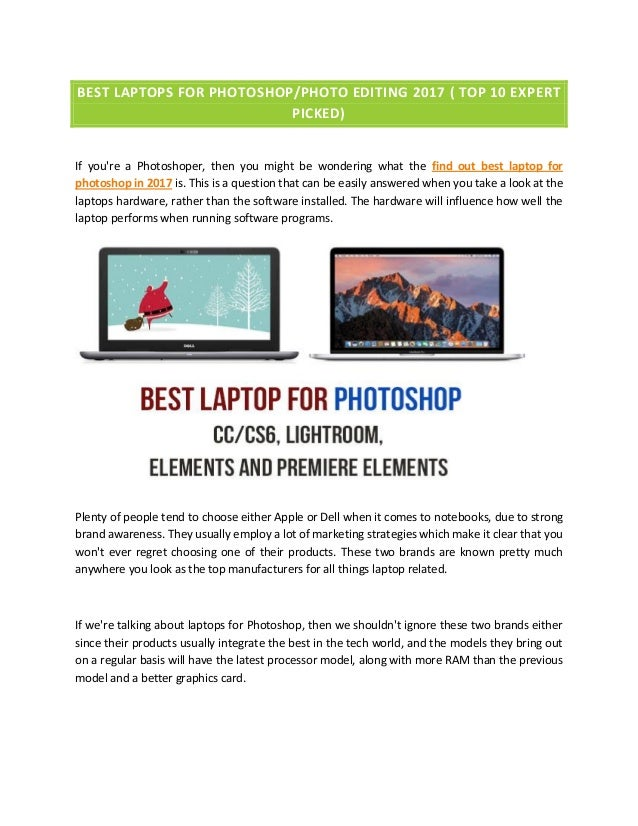 Best Laptops For Photoshop/Photo Editing 2017( Top 10 EXPERT