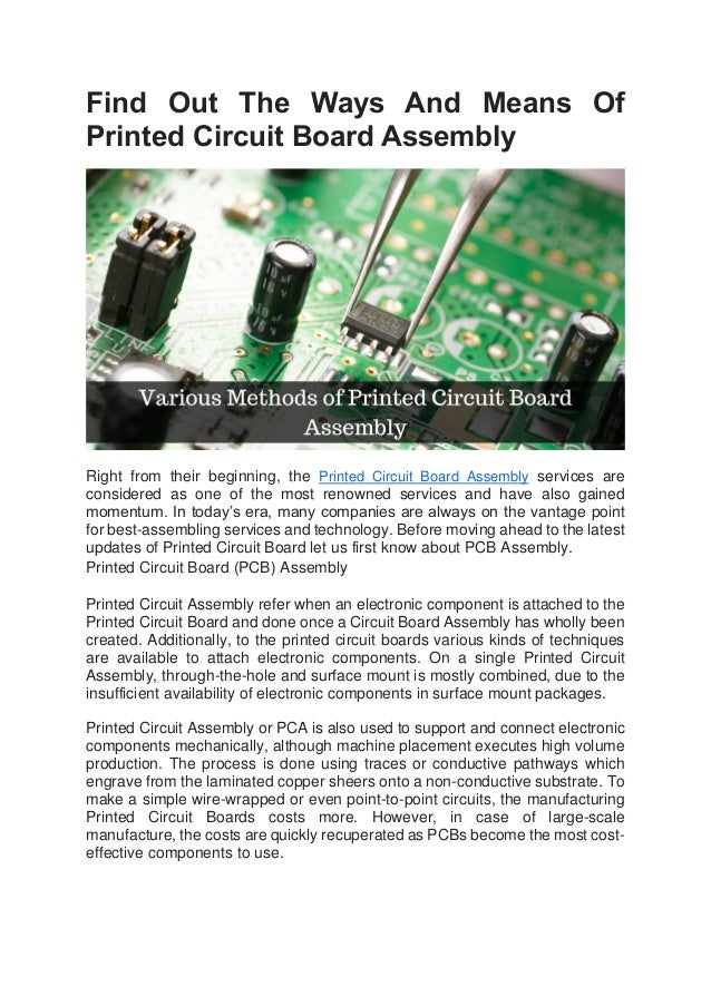 Find out the ways and means of printed circuit board assembly