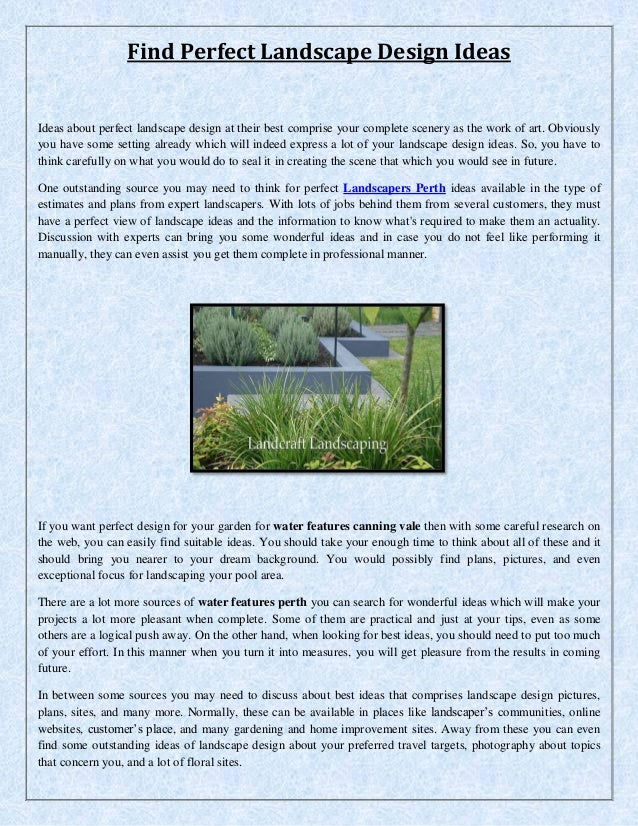 Find Perfect Landscape Design Ideas