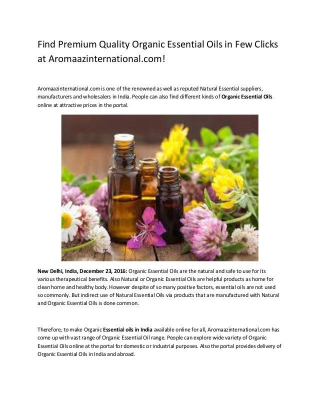 Find Premium Quality Organic Essential Oils in Few Clicks at