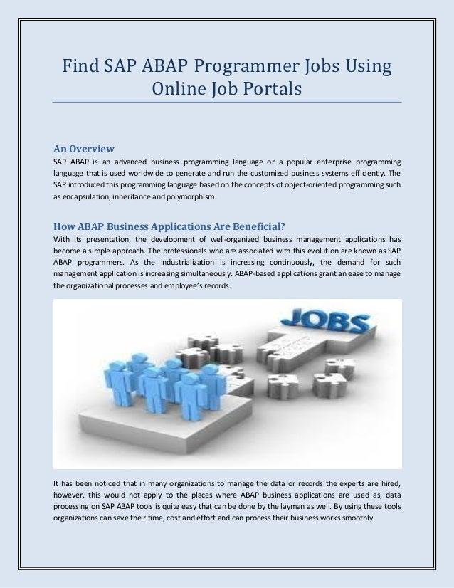 find sap abap programmer jobs using online job portals