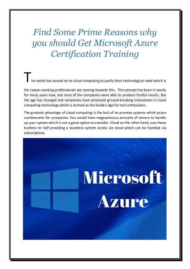 Find Some Prime Reasons Why You Should Get Microsoft Azure Certificat