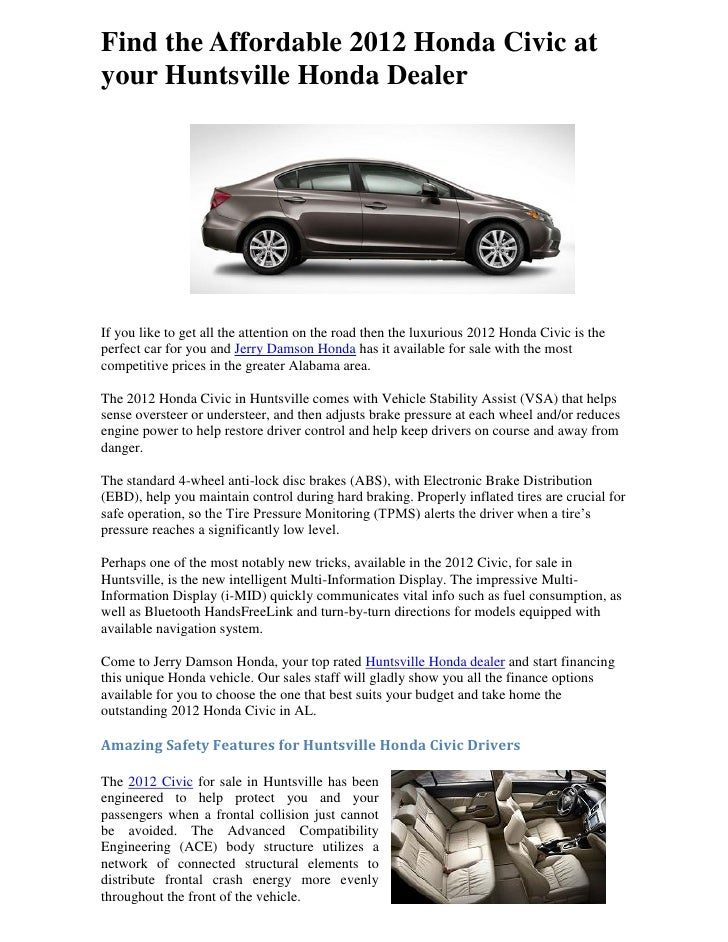Find The Affordable 2012 Honda Civic Atyour Huntsville Honda DealerIf You  Like To Get All The ...