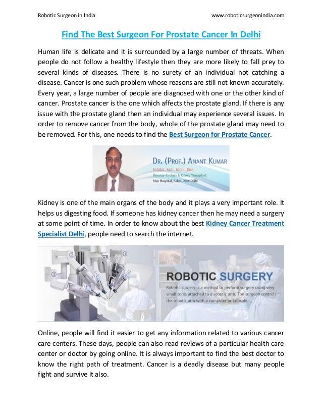 Find The Best Surgeon For Prostate Cancer In Delhi