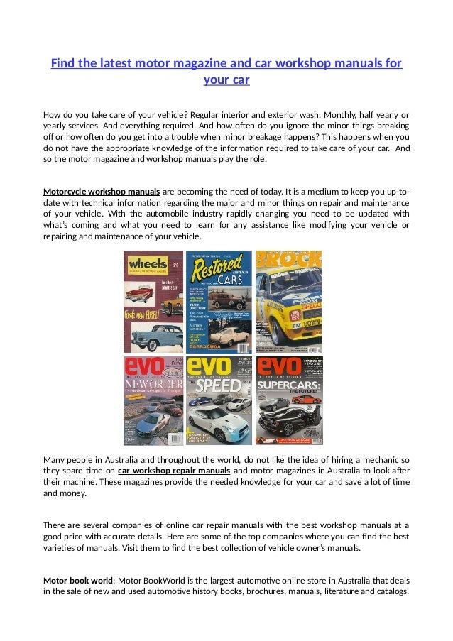 find the latest motor magazine and car workshop manuals for your car rh slideshare net best auto repair manuals online Haynes Auto Repair Manuals
