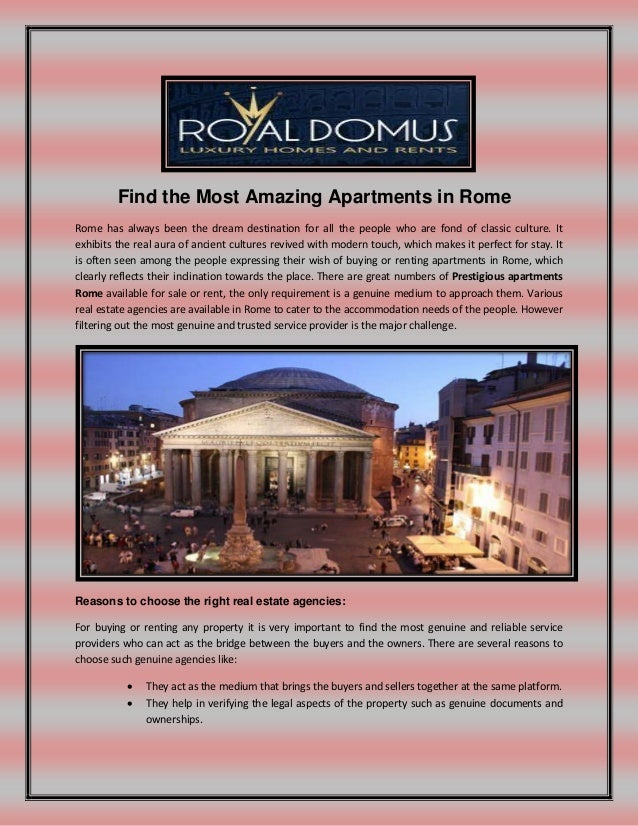 Find the most amazing apartments in rome