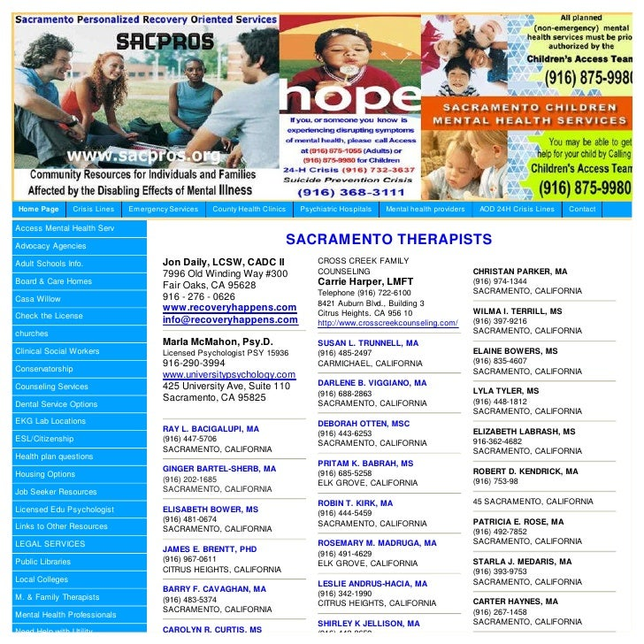Home Page          Crisis Lines   Emergency Services   County Health Clinics    Psychiatric Hospitals   Mental health prov...