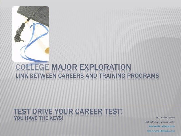 COLLEGE MAJOR EXPLORATIONLINK BETWEEN CAREERS AND TRAINING PROGRAMSTEST DRIVE YOUR CAREER TEST!YOU HAVE THE KEYS!         ...