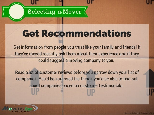 Selecting a Mover Get Recommendations Get information from people you trust like your family and friends! If they've moved...