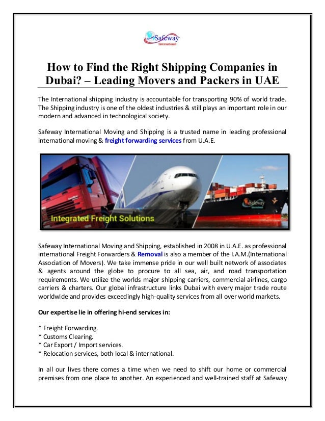 Find the Right Shipping Companies in Dubai | Safeway Intl